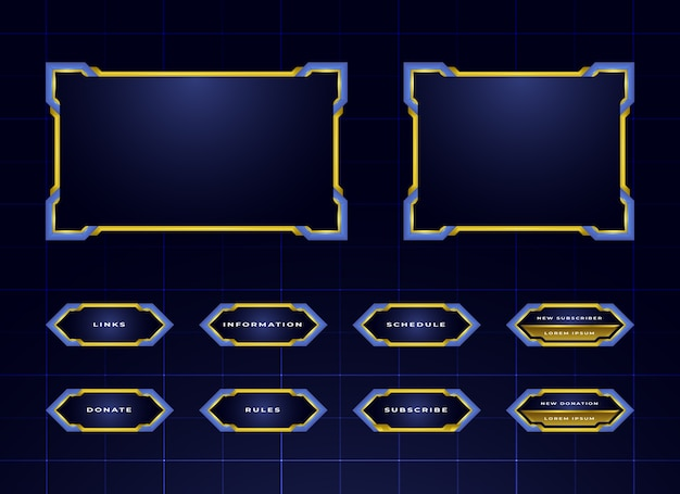 Blue twitch streaming panel design set