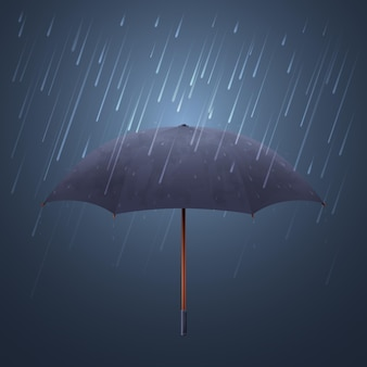 Blue umbrella and fall rain. cool water storm and night sky protection  illustration. parasol protection from stormy rain