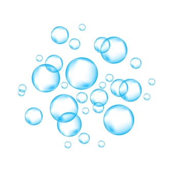 Blue underwater fizzing air bubbles  on white   background fizzy sparkles in water