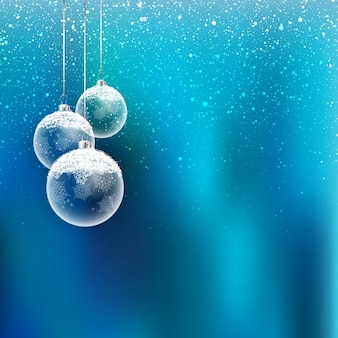 Blue unfocused background with glass christmas balls