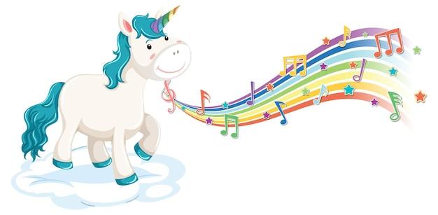 Unicorno blu in piedi sulla nuvola con simboli di melodia sull'arcobaleno