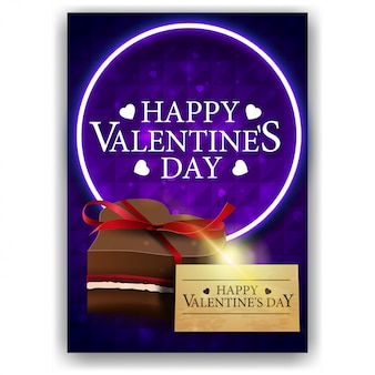 Blue valentine's day cover with chocolate candy