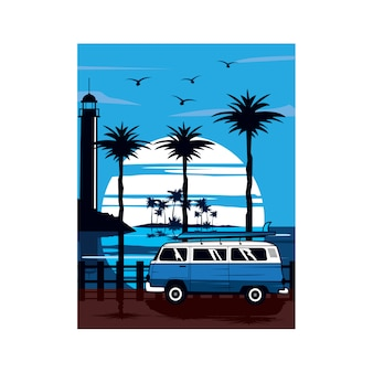 Blue van and lighthouse
