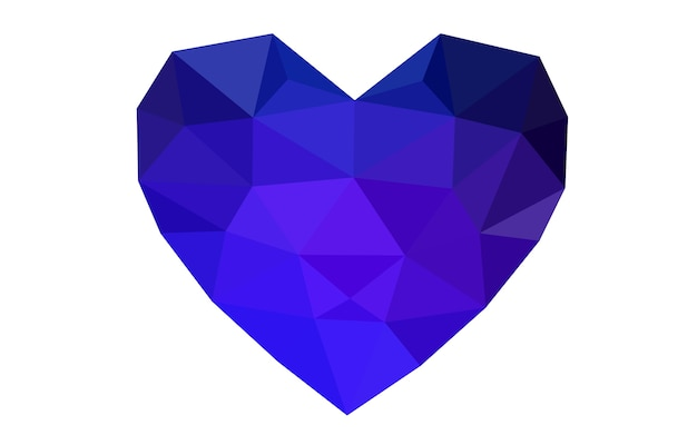 Blue vector abstract triangle geometrical heart