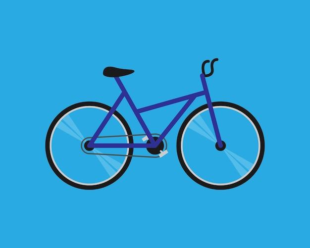 青い背景に分離された青いベクトル自転車またはサイクル。フラットスタイルの自転車のシンボル。ベクターイラストeps10