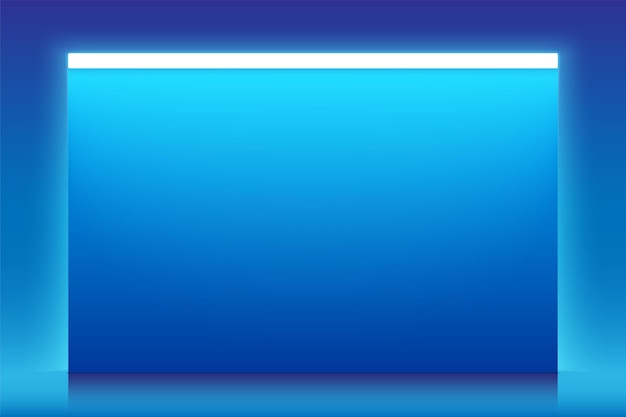 Blue vector horizontal banner with neon light