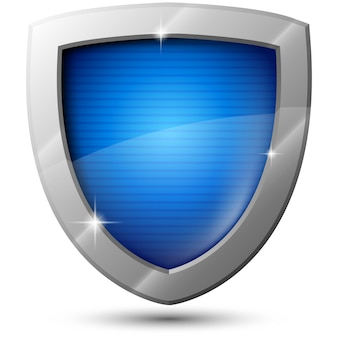 Blue vector metal shield with sparkles