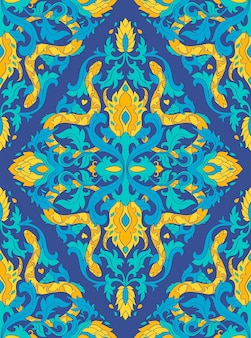 Blue vector pattern with snakes.
