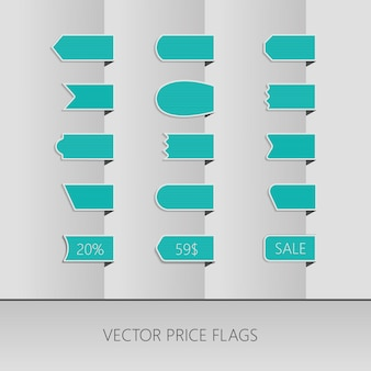 Blue vector price ribbons