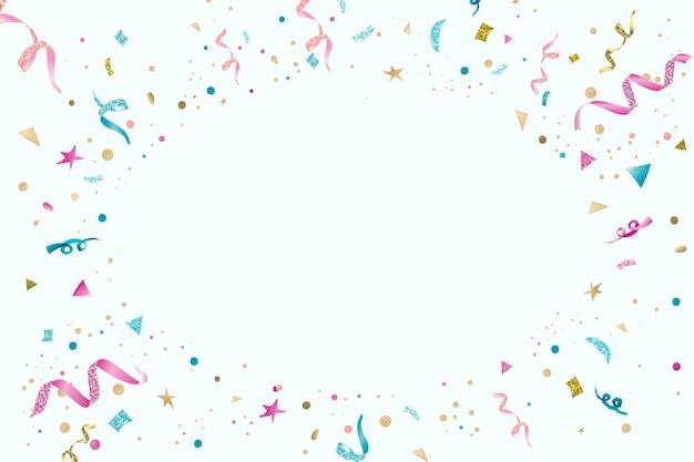 青いベクトルリボンお祝い新年パーティーフレームの背景とデザインスペース