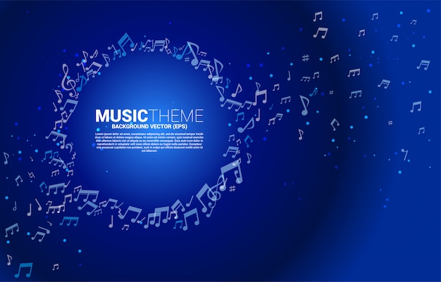 Blue vector template background with music melody note dancing flow