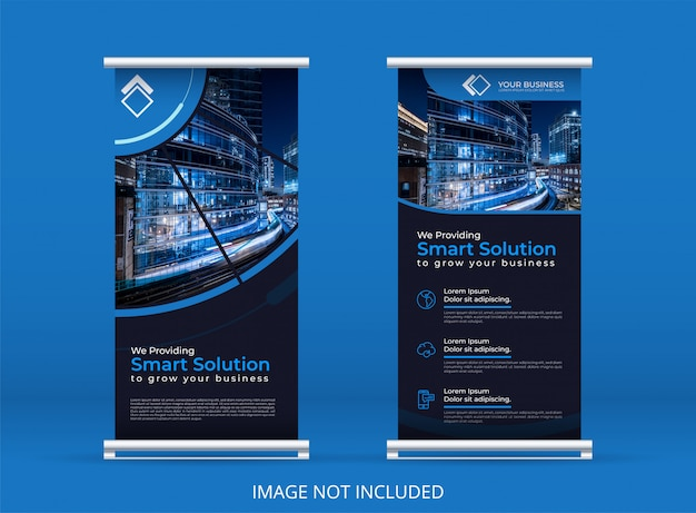 Blue vertical banner or roll up banner template