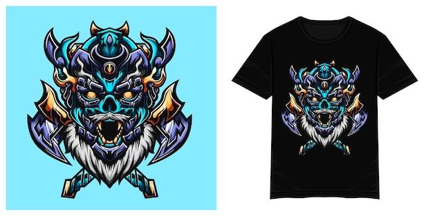 Синий принц викингов векторная иллюстрация футболки