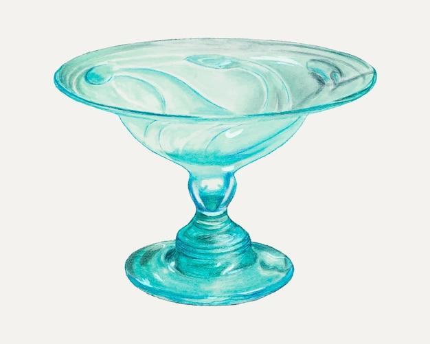 Illustrazione vettoriale di calice vintage blu, remixato dall'opera d'arte di van silvay