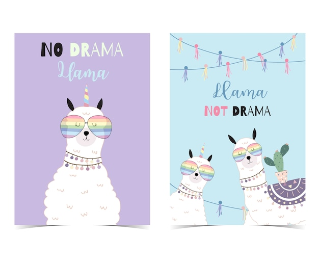 Blue violet hand drawn cute card with llama
