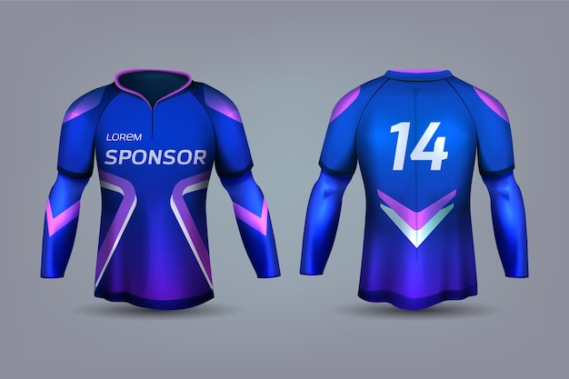Blue and violet soccer jersey uniform