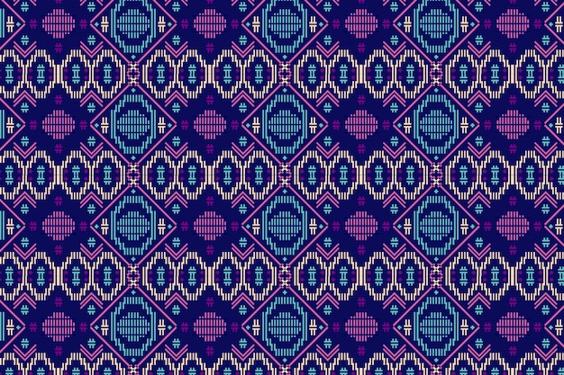 Blue and violet songket seamless pattern template