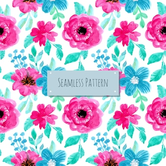 Blue violet watercolor floral seamless pattern