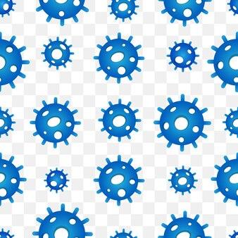 Blue virus seamless pattern background