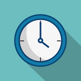 A blue wall clock over teal background. vector illustration.