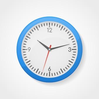 Blue wall office clock.