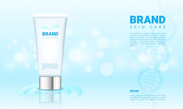 Blue water and bokeh banner for cosmetics