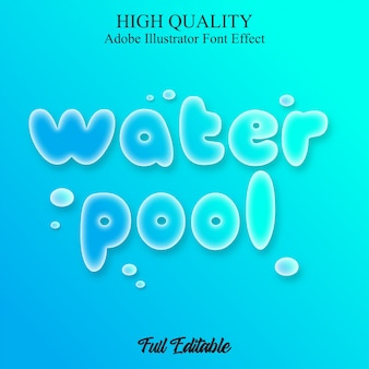 Blue water pool text style editable font effect
