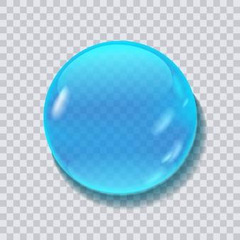透明な背景に分離された青い水ラウンドドロップベクトル図