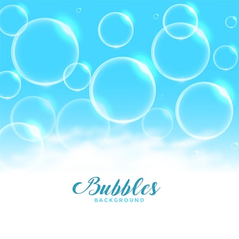 Blue water or soap floating bubbles background