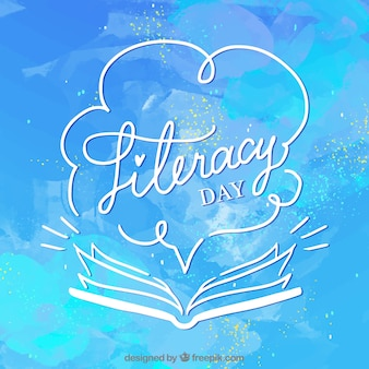 Blue watercolor background of literacy day with open book