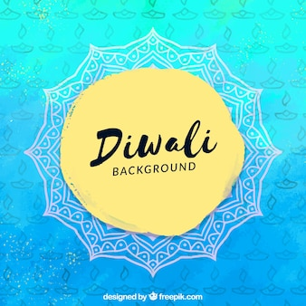 Blue watercolor background of diwali