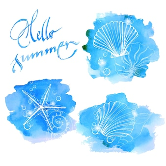 Blue watercolor background with seashells. summer background. vector illustration