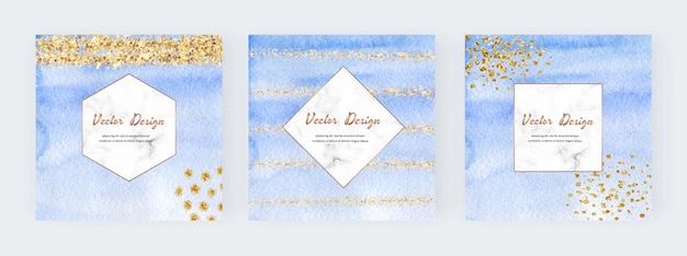 Blue watercolor banners with gold glitter texture, confetti and geometric marble frames. modern abstract cover design.