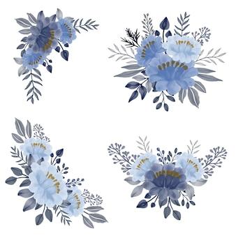 青い水彩花束花柄