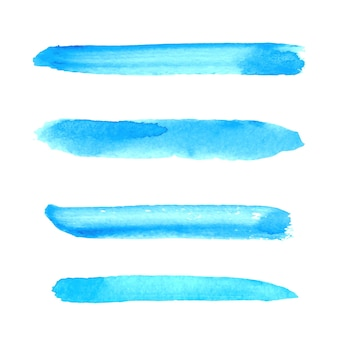 分離された青い水彩筆ストロークコレクション