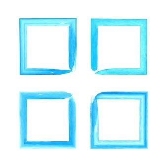 分離された青い水彩ブラシストロークフレームコレクション