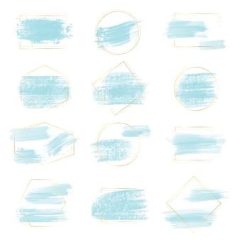 ゴールデンフレームとキラキラコレクションと青い水彩ブラシストローク