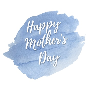 Blue watercolor card for mothers day