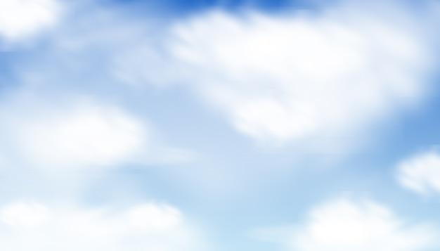 青い水彩雲と空の背景