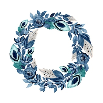 Blue watercolor floral and feather wreath
