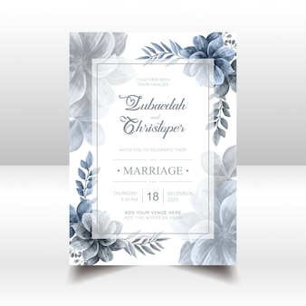 Blue watercolor floral frame for wedding invitation card