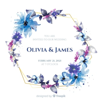 Blue watercolor floral frame wedding invitation