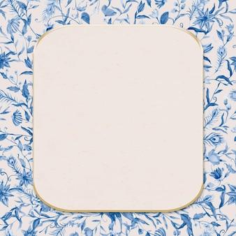 Синяя акварель цветочная рамка с бежевым фоном