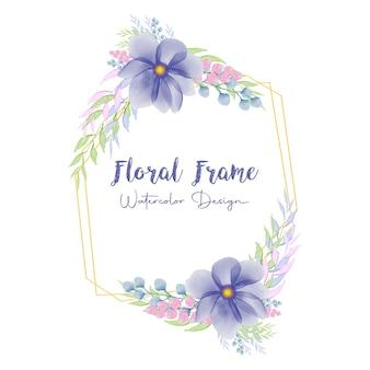 青い水彩花フレーム