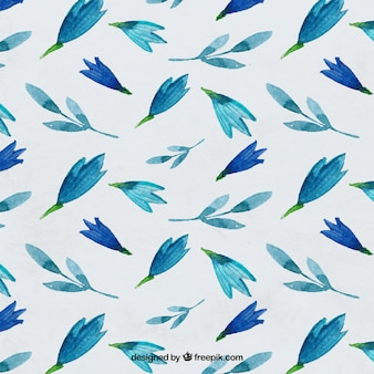 Blue watercolor floral pattern Free Vector