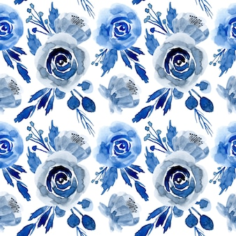 Blue watercolor floral seamless pattern