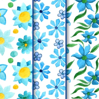 Blue watercolor flower patterns