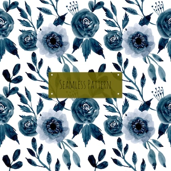 Blue watercolor flower seamless pattern
