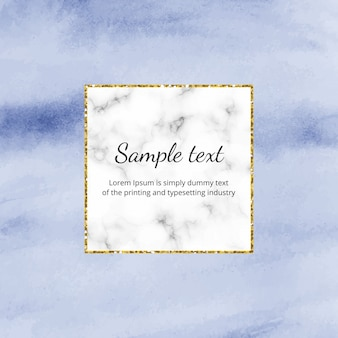 Blue watercolor foil background with marble, golden glitter line frame.