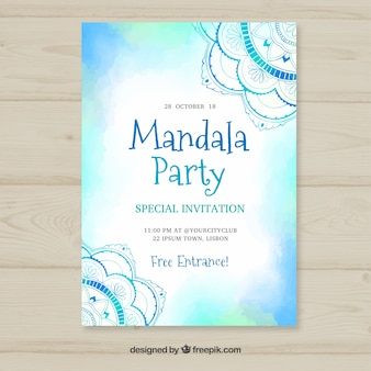 Blue watercolor invitation in mandala style